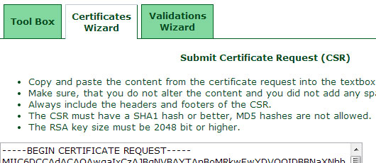 submit csr ssl