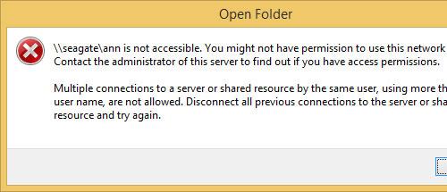 non mapped network drive error