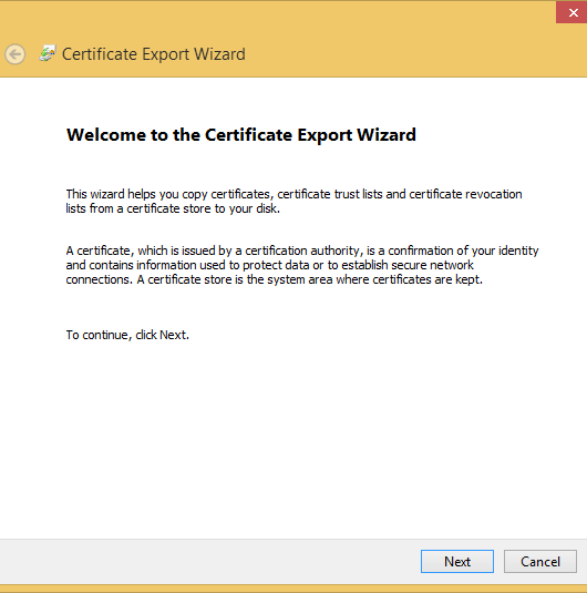 export ssl cert export wizard