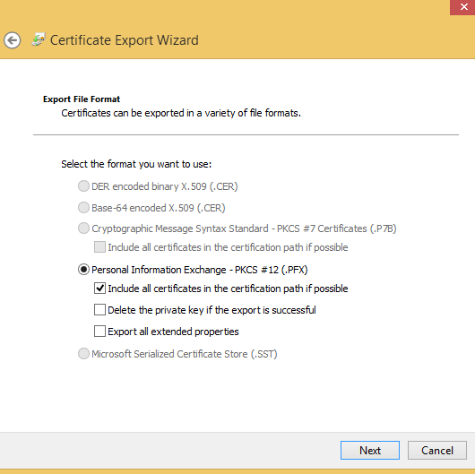 export ssl cert export pie