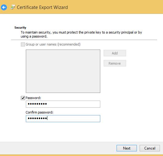 export ssl cert password