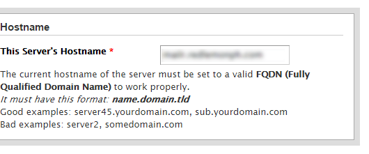 whm cpanel host name