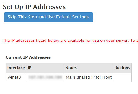 whm cpanel ip address