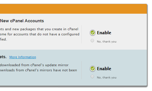 whm cpanel default options
